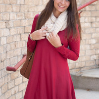 Burgundy Fall Flare Dress