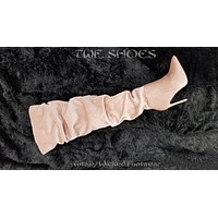 So Me Sheena Blush Pink Scrunch Top High Heel OTK Above Knee Boots 6 -10
