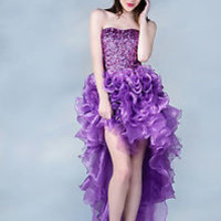 High Low Prom Dress Formal Gown Sequins Ruffles Pop Party Quinceanera Bold Fun