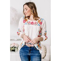 Here For You Lightweight Embroidered Top