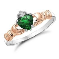 Two Tone Irish Claddagh Ring .925 Sterling Silver with Simulated Emerald Heart Promise Ring Size 9