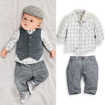 new 2016 autumn Baby suit gentleman boys clothing set  vest+long-sleeves shirt+ long pant/Popular style bebe clothes