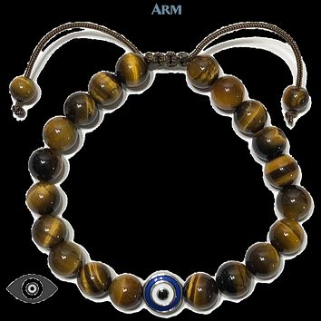 SAFE SPACE | Tiger Eye | EVIL EYE Pull-Tie Adjustable Bracelet
