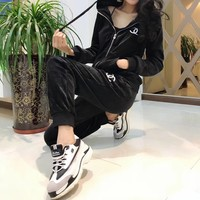 """Adidas"" Women Casual Fashion Velvet Long Sleeve Zip Cardigan Hoodie Trousers Set Two-Piece Sportswear"