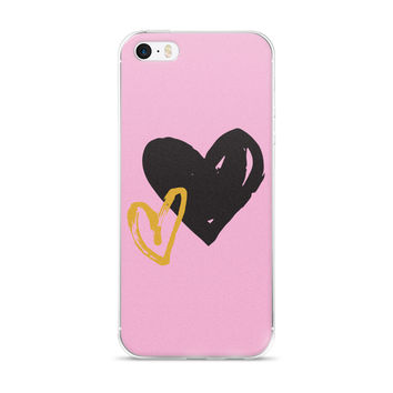 Black and Gold Hearts iPhone 5/5s/Se, 6/6s, 6/6s Plus Case