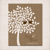 LOVEBIRDS TREE Wall Art, Brown Tan Prints Couple Name Gift, Custom Wedding Anniversary Gift,  Established Date Love, Wedding Shower Gift