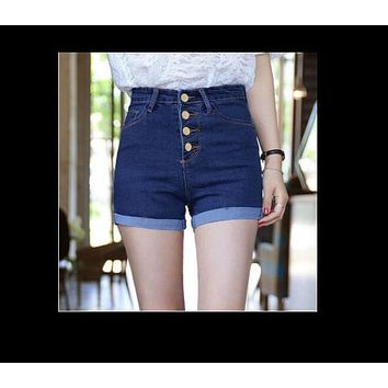 2017 Fashion 4 Buttons Retro Elastic High Waist Shorts Feminino Denim Shorts for Women Loose Plus Size Blue Jeans Short