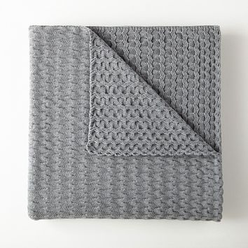 Faro Grey Throw by Peacock Alley