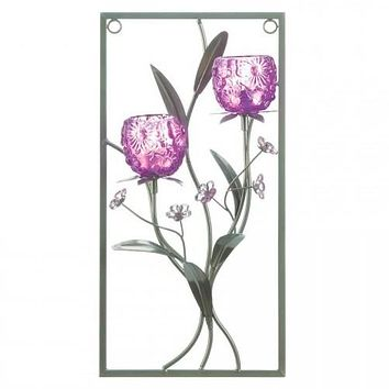 Purple Flower Rectangular Wall Sconce - Two Candles