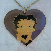 Betty Boop Purple Heart Pendant Necklace 1994 Figural Vintage Jewelry