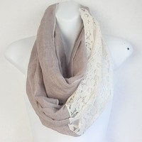 Bohemian Lace Scarf Spring scarves Infinity Lace scarf LACE scarf Scarves Infinity scarf Beige scarf Fashion Scarf Lightweight Women scarves