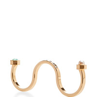 Encrusted Gold Three Finger Ring