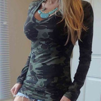 Green Camouflage Print Round Neck Long Sleeve T-Shirt