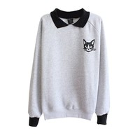 Froomer Teen Girls Cat Print Sweatshirt Long Sleeve Blouse Loose Sweater Shirt Gray