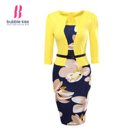 Office Dress Women Summer Bodycon Sexy Print Plus Size Floral Pencil Fake Two Piece Belt Casual Vestido Dress Robe