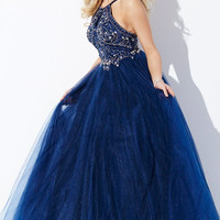 Jovani 33850 In Stock Navy Size 4 Tulle Jeweled Halter Ballgown Prom Dress