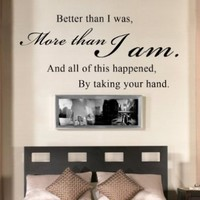 All Of This Happened By Taking Your Hand - Romantic Couples Quote Wall Decal Vinyl Sayings Bedroom Decor (Black, Medium)