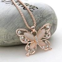 Rose Gold Butterfly Rhinestone Necklace