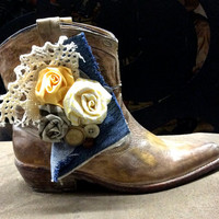 Boot Bands, Shoe Accessories Hand Made Fabric Rose Flowers Vintage Buttons, Lace and Denim Boot Bling Boot Bracelet, Cowboy Boots