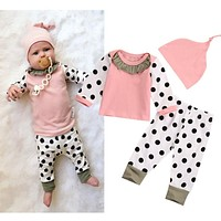 Pink Newborn Baby Girl Outfits Tops Long Sleeve Cotton Dot Pants Legging Hat Clothes Baby Girls Clothing 3PCS Set