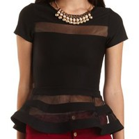 Organza Cut-Out Peplum Top by Charlotte Russe - Black