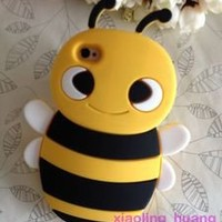 *Animal* 3D Yellow Black Happy Bee Cute Silicon Back Cases/Cover for iphone 4 4S