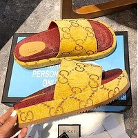 Dior GG Hot Sale New Printed Letters Ladies Casual Slippers Shoes Yellow 1