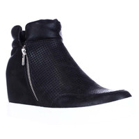 Steve Madden Linqsp Perforated Wedge Fashion Sneakers - Black