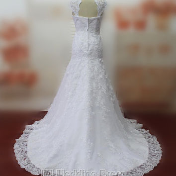 Real Pictures Mermaid Wedding Dresses Cap Sleeves Wedding Gowns Bridal Gowns with Lace Bridal Dress