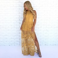 Lace Against Time Maxi Dress in Mustard