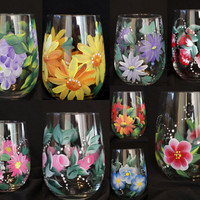 Hand Painted Wine Glasses. Great for Weddings, Showers, Bridal Party, Favors . Many different floral patterns