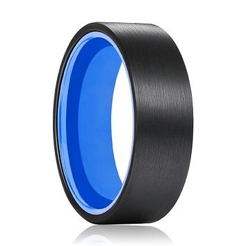 GONZO Tungsten Black Flat and Blue Inside Aluminum Ring