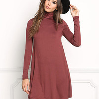 Brick Jersey Knit Turtleneck Shift Dress