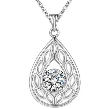 Ornate Pear Drop CZ Sterling Silver Necklace