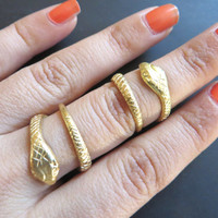 Adjustable Snake Twist Midi Ring Above The Knuckle Wrap Gold Brass Midiring Finger Cuff Jewelry
