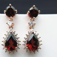 4 Carat Natural Mozambique Red Garnet Earrings in Real 925 Sterling Silver with nice gift box