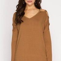 Camel Long Sleeve Cut Out Top