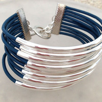 Blue and silver leather and tube bracelet