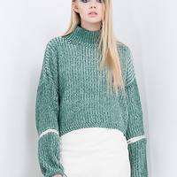 Mixed Color High Neck Zipper Sleeve Textured Knit Jumper = 1945848644