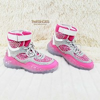 Razzle Dazzle 2 Rhinestone Jeweled Platform Hi Top Sneakers Neon Pink Ladies