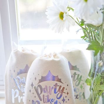Party Like a Princess Silver Foil Gift Bags