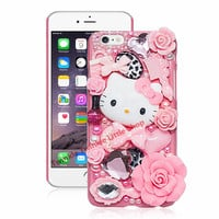Cute Hello Kitty Crystal Pearl 3D Case For iPhone Back Cover Phone Cases For apple iphone for iphone7 plus/ 5/5s/5c/6s/6splus -Girllove100