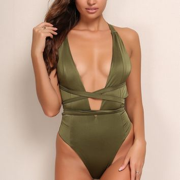 Joyfunear Plunge Neck Lace Up Backless One Piece Swimsuit