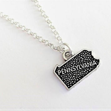 Pennsylvania necklace home state, Pennsylvania state necklace, home state jewelry, personalized gift for her, silver necklace, map charm