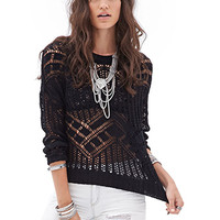 FOREVER 21 Open-Knit Sweater Black