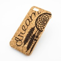CORK CASE Snap On Cover skin for APPLE IPHONE 5 / 5S - DREAM tribal quote dreamcatcher native mayan aztec american catcher