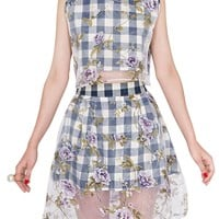 Floral Gingham Two Piece Dress Set
