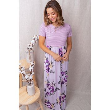 Spring Is Here Lilac Stripe Floral Print Maxi Dress