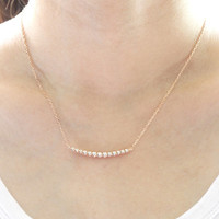Rosegold Curve Bar necklace, Tiny Bezel necklace, Rosegold Curved Bar Necklace, Rosegold bar necklace, Minimal necklace, Minimal Jewelry