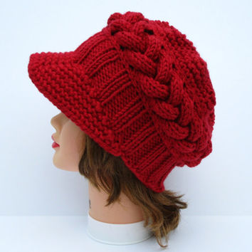 Red Newsboy Cap - Cable Knit Beanie - Chunky Hat With Visor - Brimmed Beanie - Wool Blend Headwear - Women's Hat - Knit Accessories